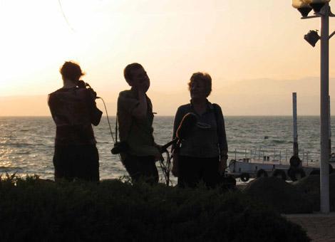 Ursula Henzl, Michael Kofler und Chava Kopelman am See Genezareth