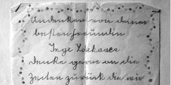 """Abschiedsbrief der jüdischen Schülerin Inge Zdekauer an ihre """"arische"""" Schulfreundin Edith Jäger. Inge Zdekauer (geb. 1930) und ihre Eltern wurden 1942 nach Theresienstadt und 1944 nach Auschwitz deportiert und dort ermordet. Foto: Edith Jäger"""